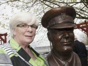 Sheila Stack wife of the late Chief Officer Brian Stack with the bronze bust after being unveiled at the Prison Service College, Portlaoise by Minister for Justice Equality and Defence Alan Shatter TD. Picture: Alf Harvey/hrphoto.ie