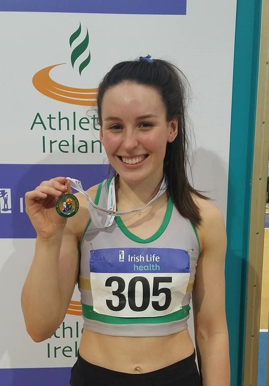 Sarah Buggy pictured after collecting her gold medal on Sunday