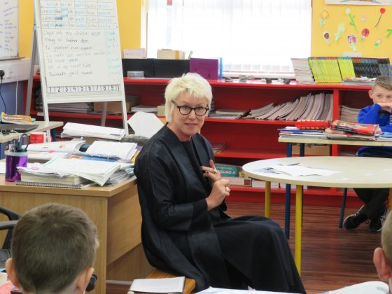 Moya Doherty gives some life lessons to the class