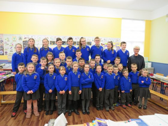 All 33 pupils in The Swan NS with Moya Doherty