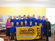 Mrs Liz Kennedy and Moya Doherty with 3rd, 4th, 5th and 6th class from The Swan NS