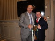 Sean pictured with Tony 'Barney' Maher holding the Jack Delaney Cup