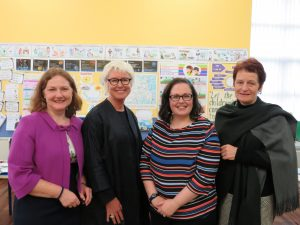 Mrs Liz Kennedy, Mrs Rachel Doyle and Mrs Carmel Dunne with Moya Doherty