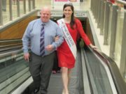 Laois Shopping Centre manager Kevin Doyle welcomes Maggie McEldowney, the current international Rose of Tralee to Portlaoise
