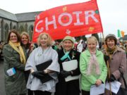 Some of the Timahoe choir members at the St Patrick's Day parade in the village