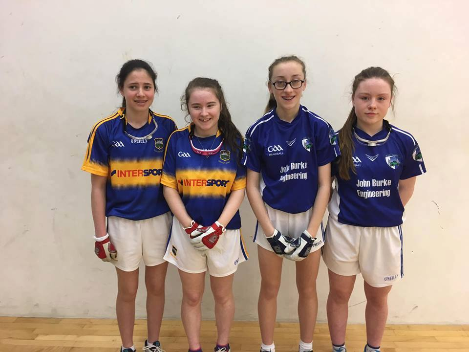 Emer Fitzpatrick and Lucy O'Connor, right, (Cullohill) who were beaten in the Girls U15 All-Ireland Doubles Final in a tie-breaker