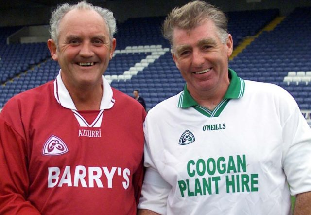 The late Michael Walsh of Ballinakill, pictured left, with Eddie Dunne, right, of Ballyfin who were in goal for their clubs in the Junior B Hurling final in 2003. They faced each other in the Intermediate final 33 years previously. Picture: Alf Harvey