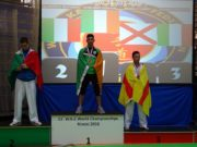 Eoghan on the podium following his win at the WKC World Karate Championship in the U-21 Lightweight division