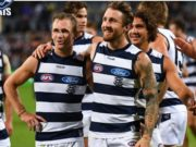 Zach Tuohy celebrates after his first Geelong game