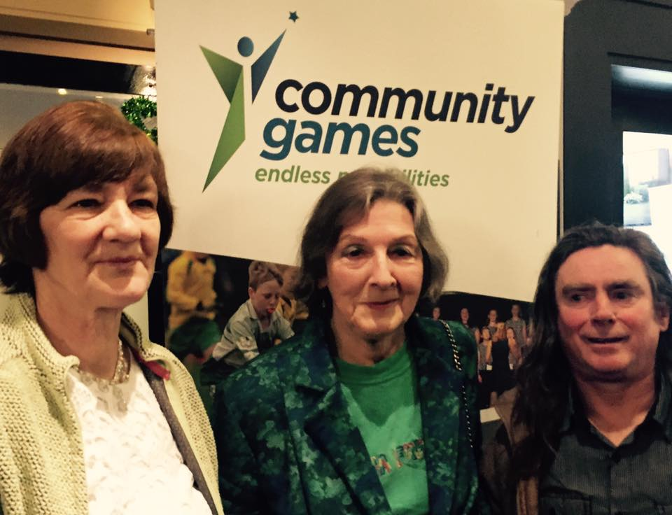 Gillie Wlash Kemmis pictured alongside Brid Dwyer and Austin Watt Clancy in Athlone yesterday at the Community Games Awards