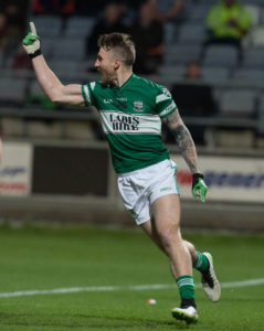 Zach Tuohy celebrates a goal against Emo in the 2015 Laois SFC final, the last time he played for The Town