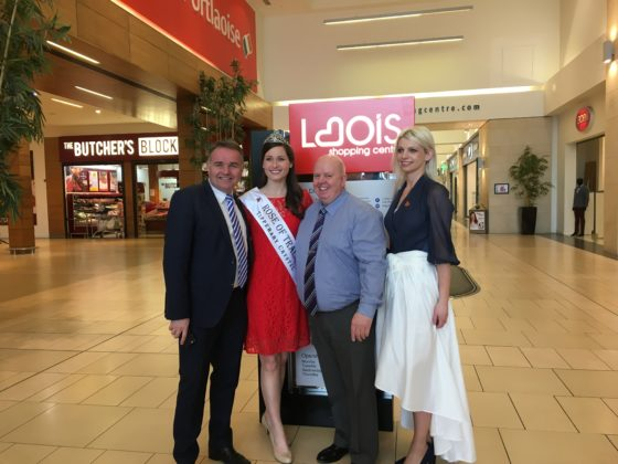 Steve Cronley (Commercial Manager, Rose of Tralee), Maggie McEldowney (2016 international Rose of Tralee), Kevin Doyle (Laois Shopping Centre Manager) and Lyn Moloney (Laois Rose co-ordinator)
