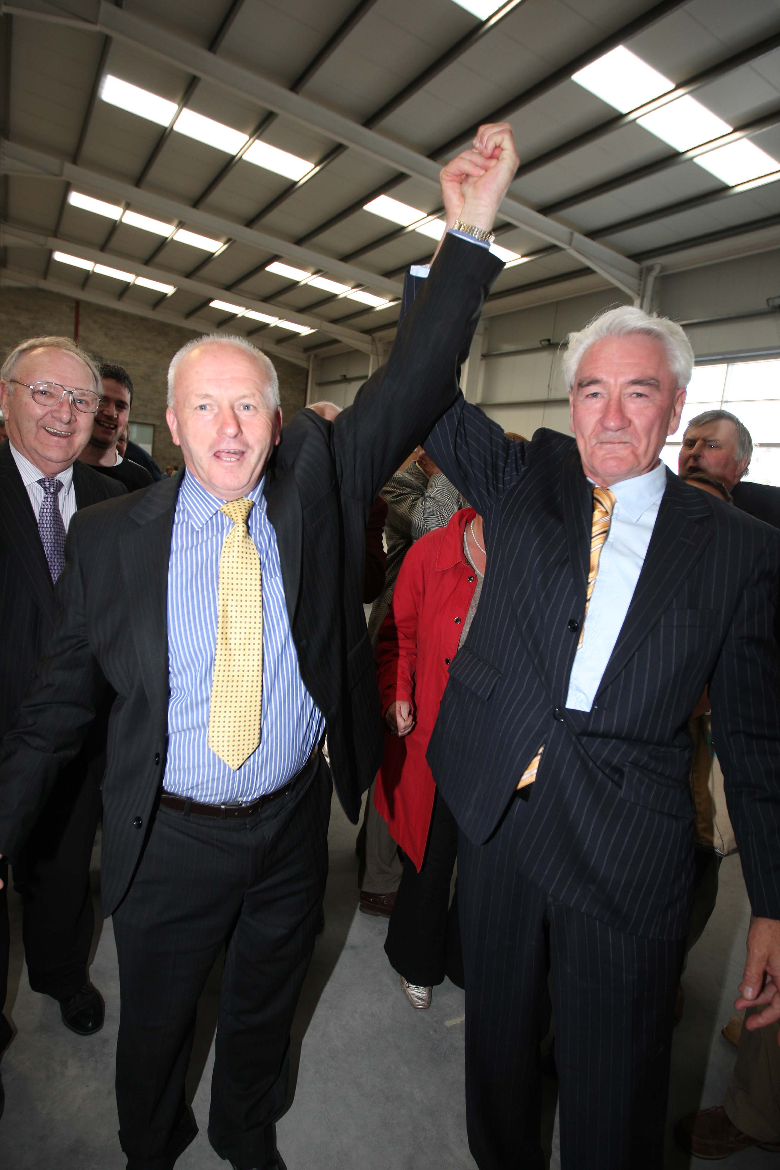 Fine Gael colleagues Tom Mulhall and James Deegan celebrate at the 2009 Local Election count