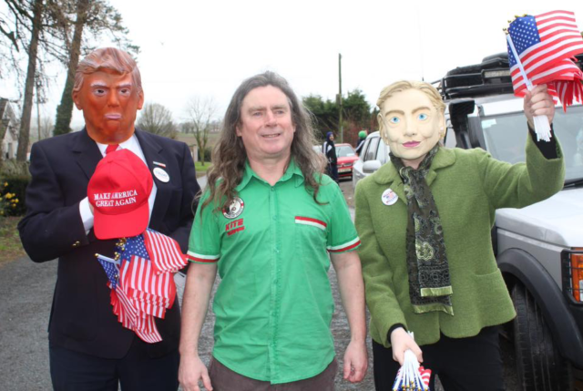 Stradbally legend Austin Watt Clancy joined by Donald Trump and Hillary Clinton at the parade this morning