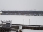 O'Moore Park is covered in snow this morning