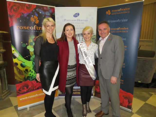 Lyn Moloney (Laois Rose co-ordinator), Emily Miller (LaoisToday.ie0, Kate Hyland (2016 Laois Rose) and Steve Cronley (Commercial Manager, Rose of Tralee) in the Portlaoise Heritage Hotel on Sunday evening