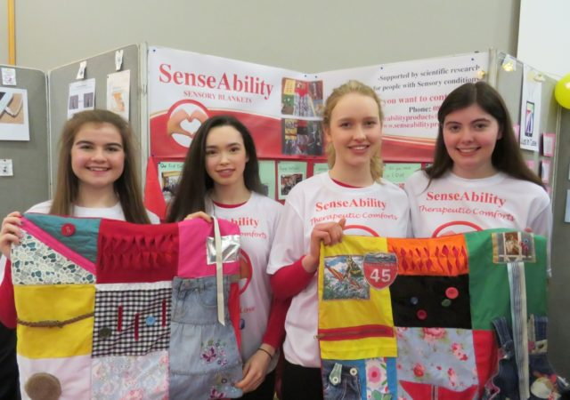 Ellen McWey, Arianna Mezzepelle, Ruth Bergin and Megan Walsh from Heywood CS with their product - a sensory blanket for people suffering from dementia or other sensory products. Their mini company is called SenseAbility. They were the outright winners at the Laois Student Enterprise Programme in Portlaoise this afternoon