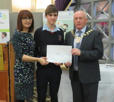 Merit Award winner Cillian Fitzpatrick of Smart Suck from Mountrath CS with Evelyn Reddin and Tom Mulhall