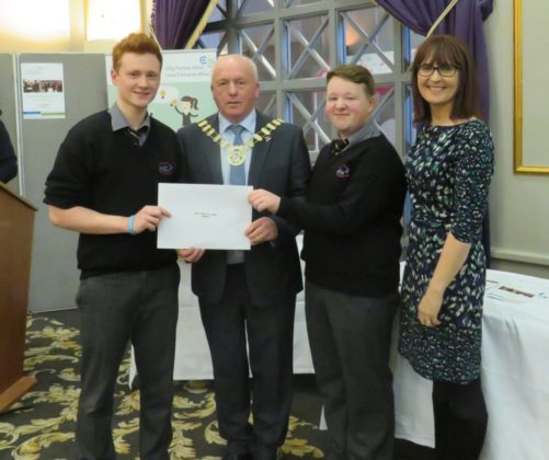 Best Display Award winners Lee Mullen and Richard Mansworth of Dressing Room 1 with Evelyn Reddin and Tom Mulhall