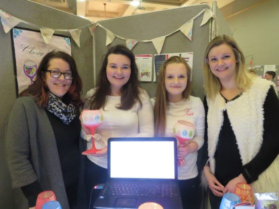 Rosie Fitzpatrick and Zoe Daly of Classy Glass from St Fergals College with teachers Mrs Kennedy and Mrs Phelan