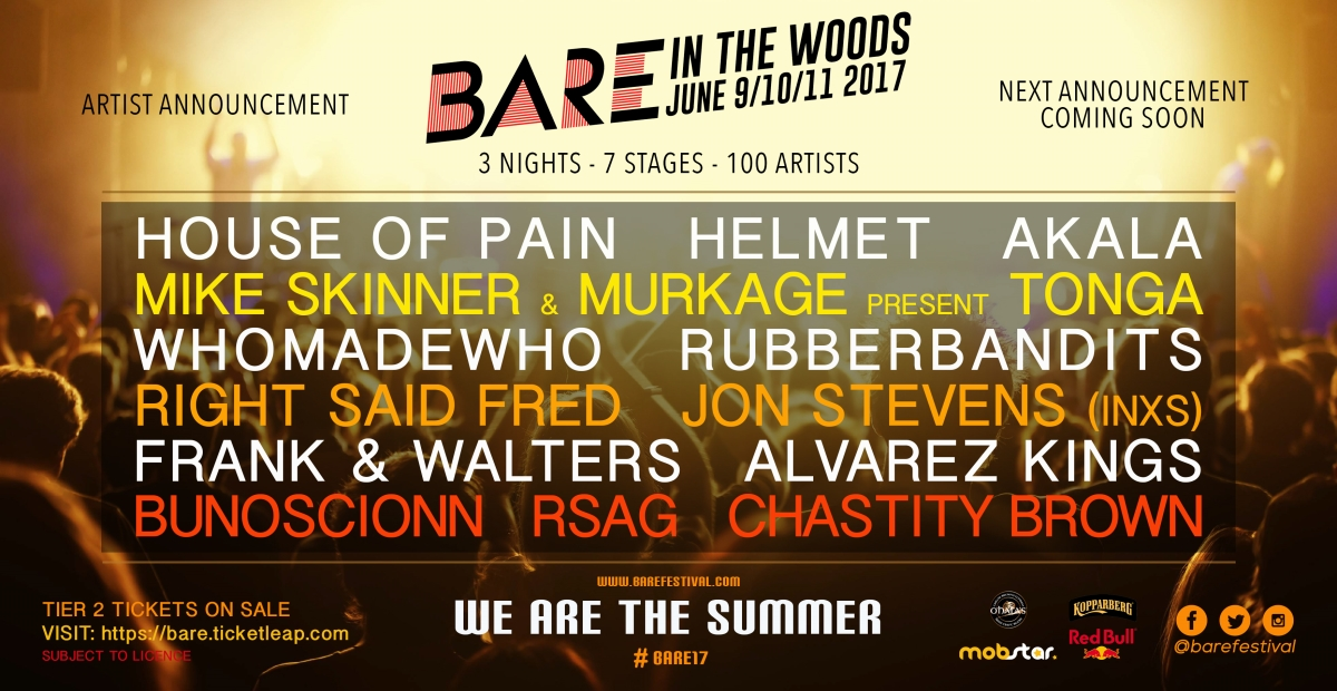 Updated line up for Bare in the Woods