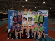 The winning relay teams at yesterday's Indoor Championships