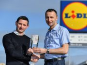 Laois manager Kevin Doogue, left, is presented with the Lidl / Irish Daily Star Ladies Football Manager of the Month award for February by Tomasz Szadkowski, Deputy Store Manager, Lidl Portlaoise, at the Lidl Store in Portlaoise