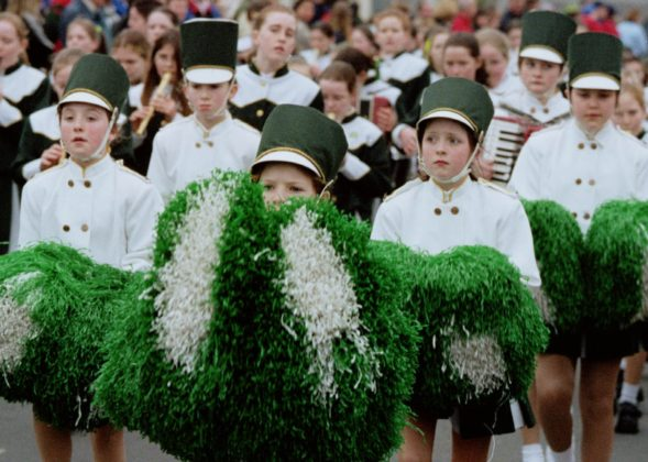 Some cool looking dudes (and dudettes) in the Portlaoise St Patrick's Day parade in 2000