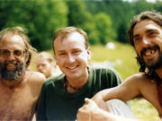 A young looking John Whelan with some of the Rainbow People in the Slieve Bloom mountains in 1993