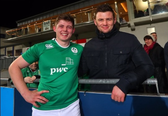 Sean Masterson with his brother Eoghan after Sean's first Ireland U-20 cap against France earlier this month