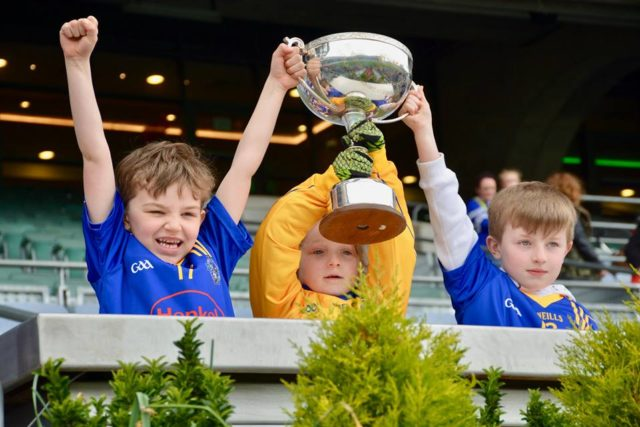 Annanough team members raise the cup after a great day at the GAA Go Games in Croke Park
