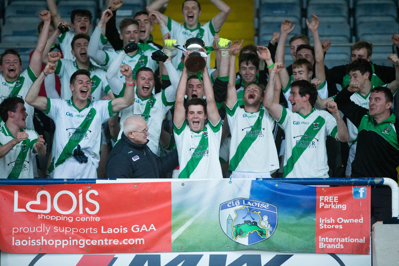 Rosenallis captain Cillian Callaly raises the trophy after defeating Park Ratheniska in the JFC Final at O'Moore Park. Picture: Alf Harvey/HRPhoto.ie