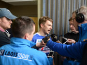 Ross Munnelly talks to the media after the Leinster GAA Football Senior Championship Round 1 win