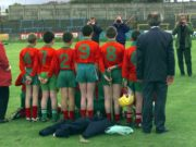 Behind the scenes, Castlecuffe N.S. line up for the cameras at the Cumann Na mBunscoil hurling and camogie finals at O'Moore Park some years ago