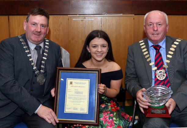 Nicole with Clr. Eddie Fitzpatrick, Cathaoirleach, Offaly and Clr. Tom Mulhall, Cathaoirleach, Laois