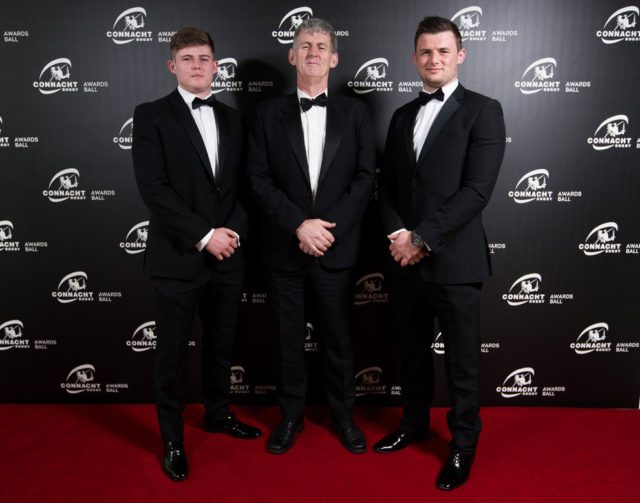 Sean Masterson, pictured with his dad and older brother Eoghan, who has been named in the Ireland squad