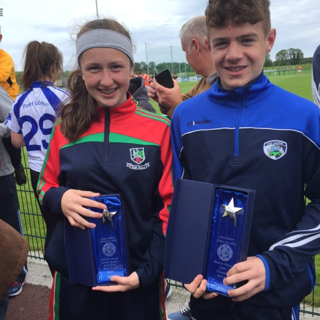 Orla Hennessy and Oisin Hooney pictured together after their success in John West National Feile Skills Competition