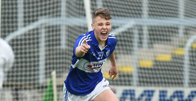 Evan Lowry celebrates after scoring his side's goal during the Leinster Minor Championship Semi-Final match between Laois and Offaly