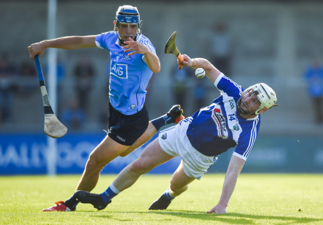Laois full forward Neil Foyle in action against Eoghan O'Donnell of Dublin