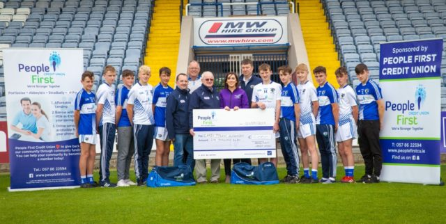 Members of the Laois GAA Talent Academy with People First Credit Union who will sponsor them for another year