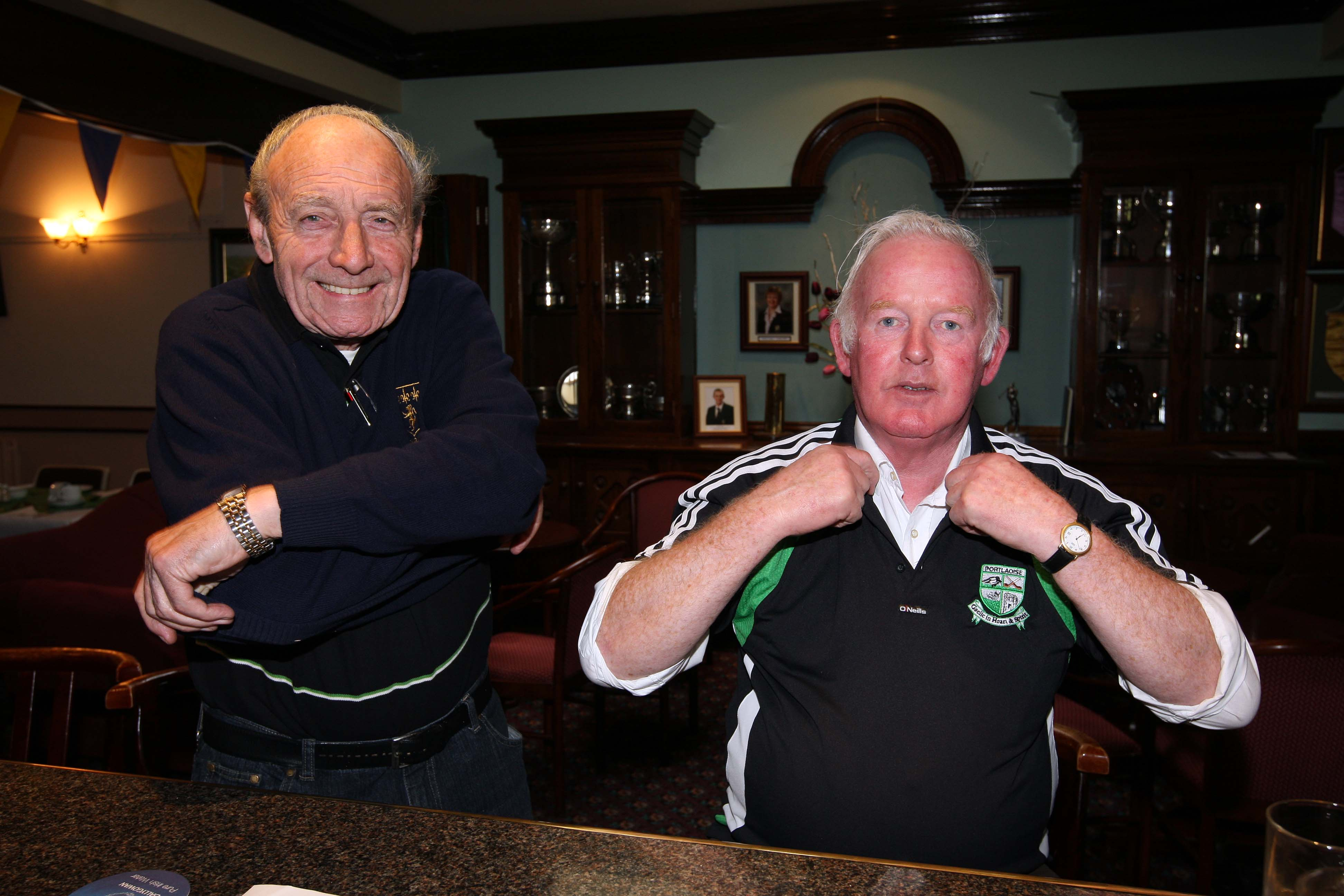 Phil O'Keeffe and Jazz Reilly show off their club colours at The Heath Golf Club for the Portlaoise GAA Golf Classic.