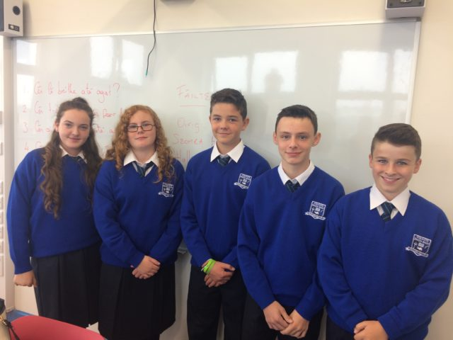 Students at Dunamase College on their first day in the new school