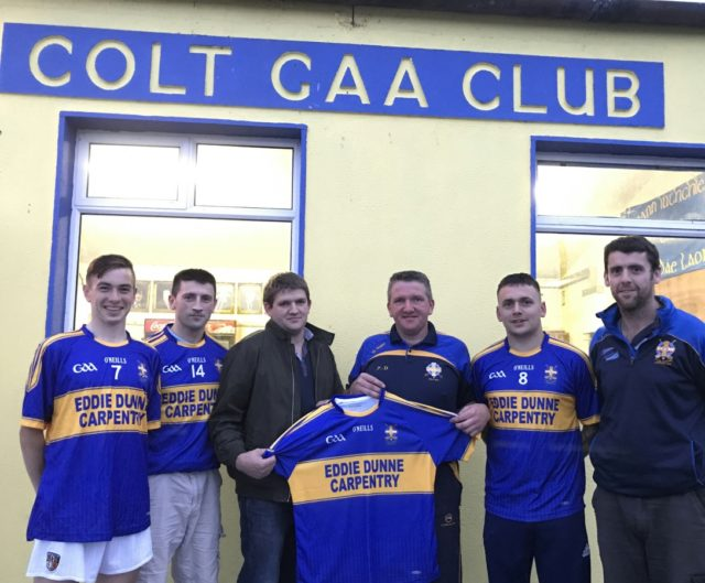 James Keyes, Gearoid Parkinson, Mark McDonald and Enda Phelan (Secretary) with Padraig Dunne, Chairman of Colt GAA, Club receiving a new set of club jerseys, from Eddie Dunne of Eddie Dunne Carpentry
