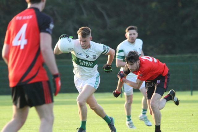 Portlaoise midfielder Paddy Downey in action in the Laois IFC quarter-final replay against The Rock
