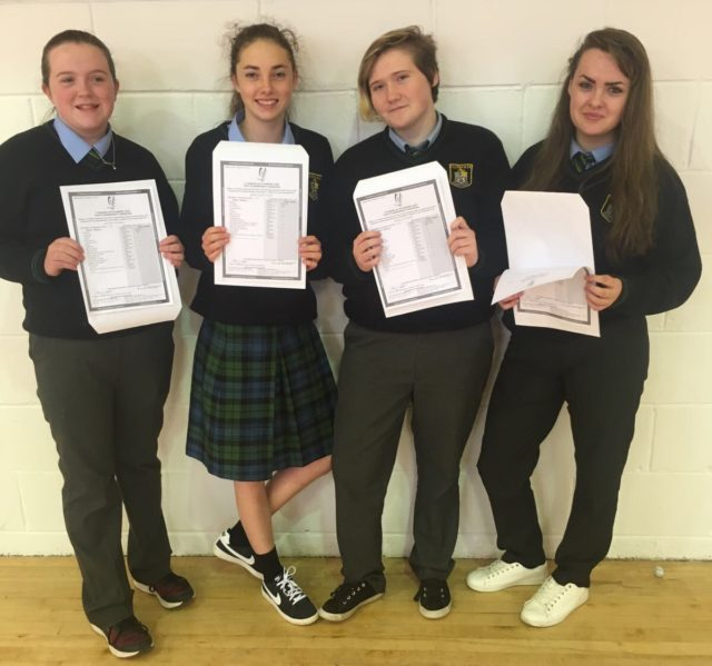 Students from Clonaslee with their Junior Cert results