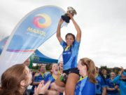 Eimear Corri lifts the Kay Bowen Trophy for DCU