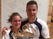 Maebh Moriarty, from Armagh, with Conor O'Regan and the Australasian Games trophy