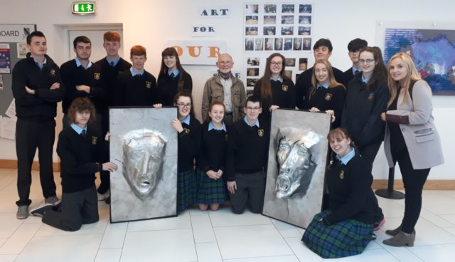 Members of Clonaslee College with local artist