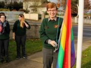Prefect Amy Wall with the rainbow flag at St Fergals College Rathdowney