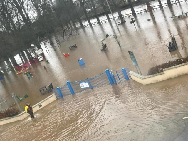 The playground is completely flooded in Mountmellick